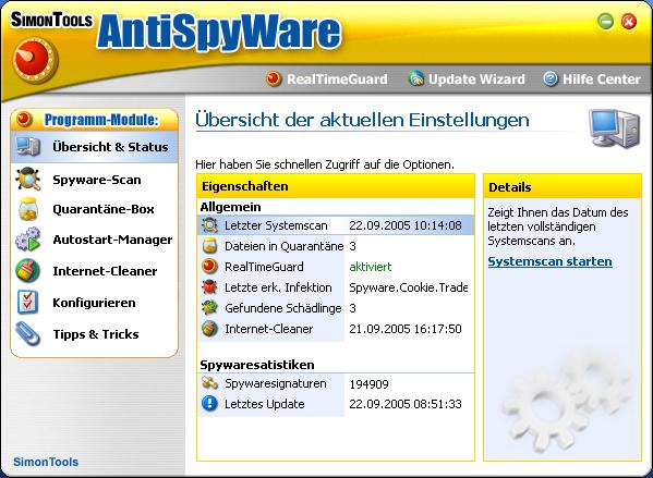 Screenshot vom Programm: SimonTools AntiSpyWare 2006