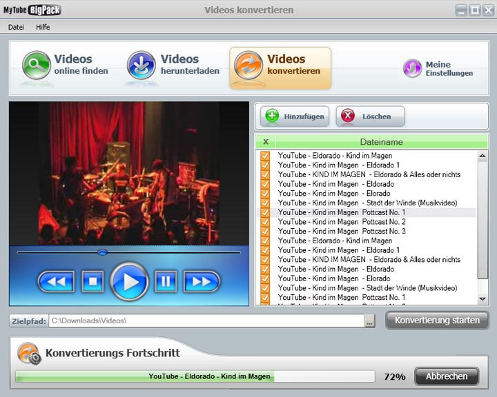Screenshot vom Programm: MyTube BigPack Free