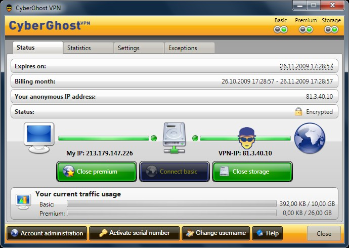 Click to view CyberGhost VPN 2 4.0.0.960 screenshot